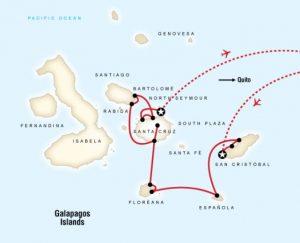 G Adventures Galapagos map